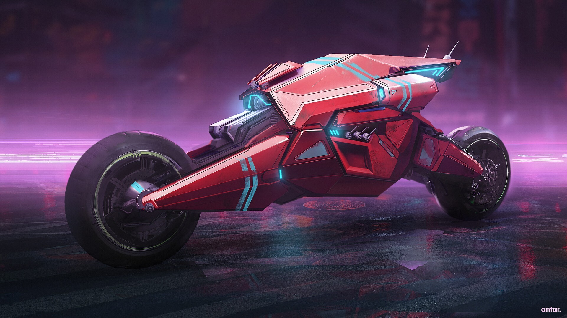 Motorcycle Cyberpunk by Antar