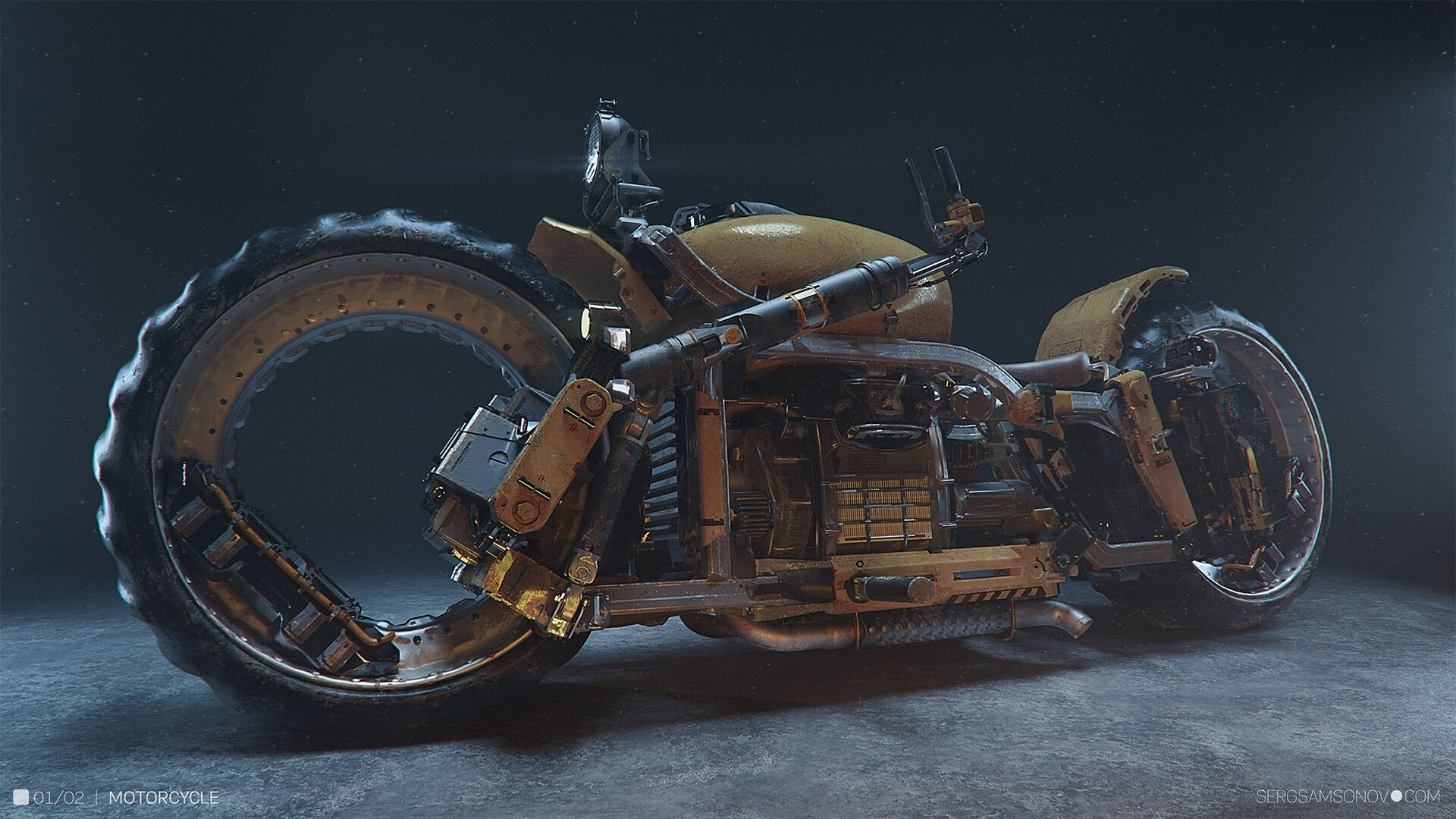 Yellow Motorcycle by Serge Samsonov