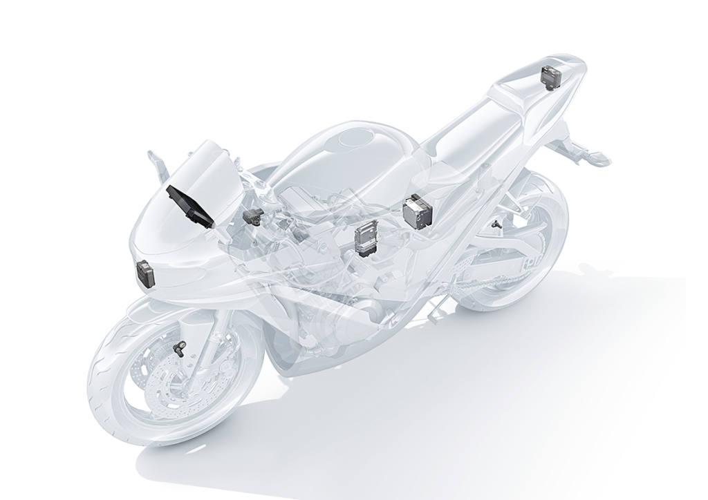 Sistema de radar instalado en una moto