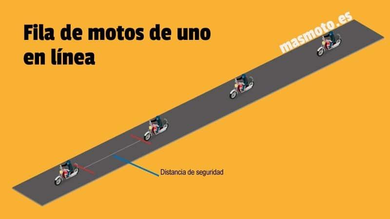 Fila de motos en una fila en línea